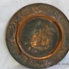 Antigüedades: PLATO GRANDE DE COBRE BARCO. Lote 28135813