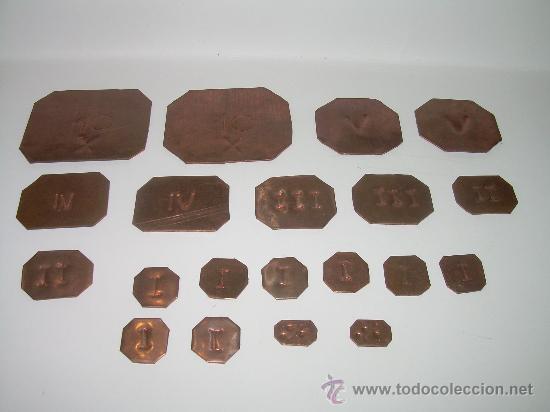 ANTIGUOS PONDERALES DE COBRE.....LOTE DE 20 UNIDADES. (Antigüedades - Técnicas - Medidas de Peso - Ponderales Antiguos)