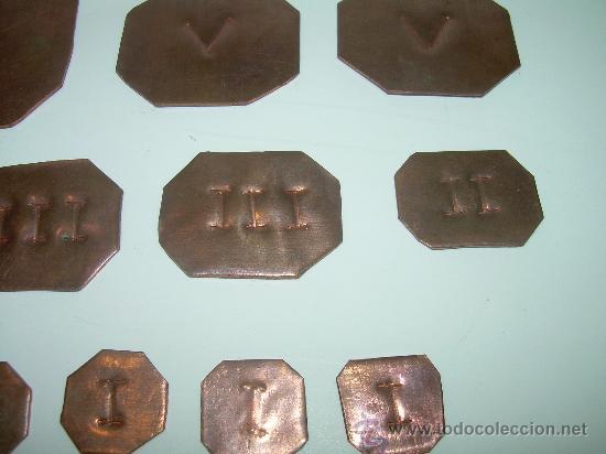Antigüedades: ANTIGUOS PONDERALES DE COBRE.....LOTE DE 20 UNIDADES. - Foto 3 - 28302854