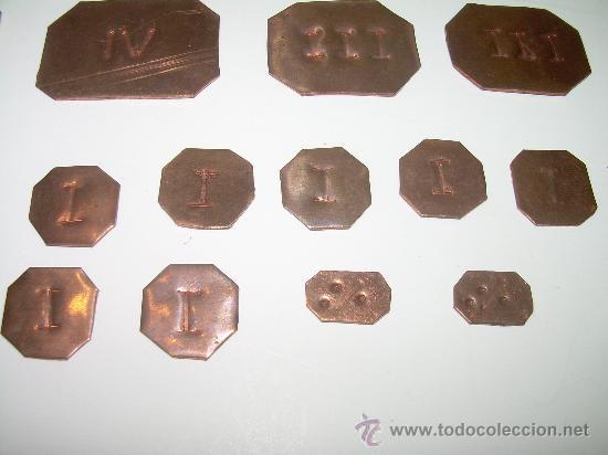 Antigüedades: ANTIGUOS PONDERALES DE COBRE.....LOTE DE 20 UNIDADES. - Foto 4 - 28302854