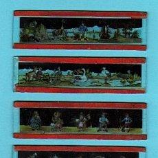 Antigüedades: LOTE DE 6 PLACAS DE CRISTAL LINTERNA MÁGICA (VER DETALLE). Lote 28475786