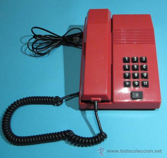 TELÉFONO MODELO TEIDE COLOR ROJO. FABRICADO EN 1989. FUNCIONA CORRECTAMENTE (Antigüedades - Técnicas - Teléfonos Antiguos)