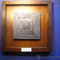 Antigüedades: IMPRENTA CUADRO COLLAGE TIPOGRAFICO - REF. LG7 PIEZA UNICA - TAMAÑO 20X20 - VER FOTOS. Lote 28922101