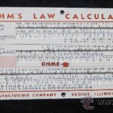 Antigüedades: OHMITE OHM'S LAW CALCULATOR / OHMITE PARALLEL RESISTANCE CALCULATOR, 1949, VINTAGE, IMPECABLE ESTADO. Lote 29375475
