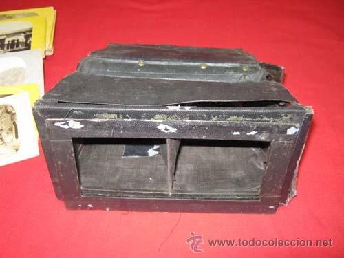 Antigüedades: Antiguo estereoscopio en carton forrado. Con fotografías. - Foto 2 - 29386013