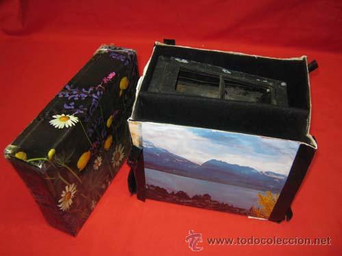 Antigüedades: Antiguo estereoscopio en carton forrado. Con fotografías. - Foto 3 - 29386013