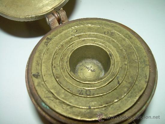 Antigüedades: PONDERALES PARA PESAR POLVO DE ORO. - Foto 5 - 29427172