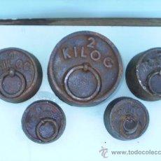 Antigüedades: 5PESAS DE HIERRO PARA BALANZAS - 1 DE 2 KGR,2 DE 1 KGR,2 DE 0,500 KGR. Lote 29430929