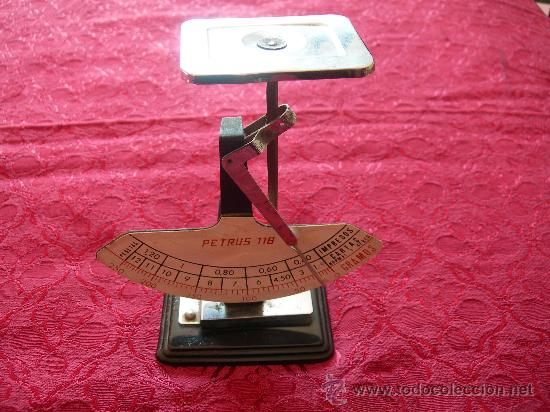 PESO PARA CARTAS, MARCA PETRUS 118, MIDE 15 CMS DE ALTURA (Antigüedades - Técnicas - Medidas de Peso - Balanzas Antiguas)