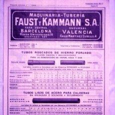 Antigüedades: CATALOGO MAQUINARIA-TUBERÍA FAUST Y KAMMAN - AÑOS 20 - TODO TIPO DE TUBOS CON IMÁGENES. Lote 29567450