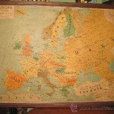 Antigüedades: DOS GRANDES MAPAS DE SEIX BARRAL: ESPAÑA POLITICA Y EUROPA POLITICA PEGADOS A TEBLE Y ENMARDACOS 195. Lote 29647735