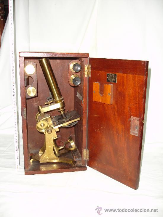PRECIOSO MICROSCOPIO INGLÉS / ALREDEDOR DE 1880 (Antigüedades - Técnicas - Instrumentos Ópticos - Microscopios Antiguos)