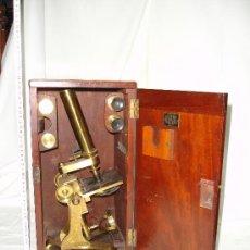Antigüedades: PRECIOSO MICROSCOPIO INGLÉS / ALREDEDOR DE 1880. Lote 30002757