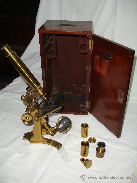 Antigüedades: Precioso microscopio Inglés / Alrededor de 1880 - Foto 5 - 30002757