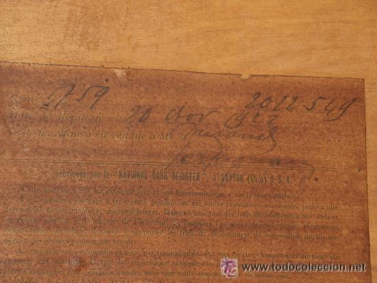 Antigüedades: CAJA REGISTRADORA NATIONAL USA DE 1922 - Foto 10 - 30205513