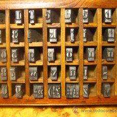 Antigüedades: IMPRENTA, CAJITA DE LETRAS DE PLOMO, 36 BODONI MINUSCULA, ABECEDARIO, NUMEROS Y SIGNOS- 46 PIEZ S. Lote 30365119