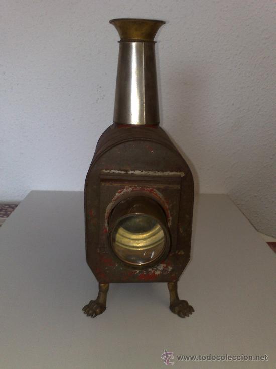 Antigüedades: ANTIQUISIMA LINTERNA MAGICA PROYECTOR DE CINE DE HOJALATA FUNCIONA CON FUEGO SIGLO XIX MUY DIFICIL ! - Foto 7 - 30404383