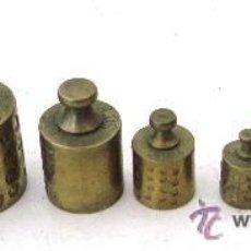 Antigüedades: .JUEGO DE 9 PESAS DE LATON, DE 2G A 200G (CON 2 PIEZAS DE 5G Y 2G). Lote 30411399