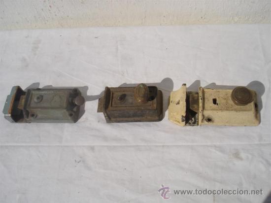 3 JUEGOS DE CERRADURAS ANTIGUAS (Antigüedades - Técnicas - Cerrajería y Forja - Cerraduras Antiguas)