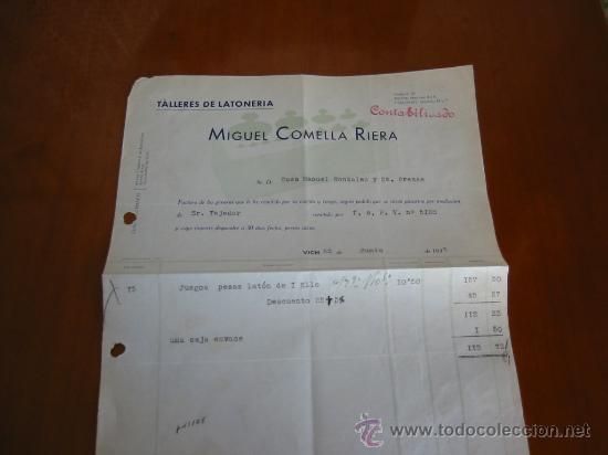 FACTURA DE TALLER DE LATONERIA DE MIGUEL COMELLA FABRICANTE DE PESAS METRICAS (Antigüedades - Técnicas - Medidas de Peso Antiguas - Otras)