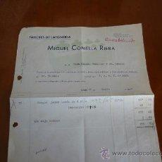 Antigüedades: FACTURA DE TALLER DE LATONERIA DE MIGUEL COMELLA FABRICANTE DE PESAS METRICAS. Lote 30442278