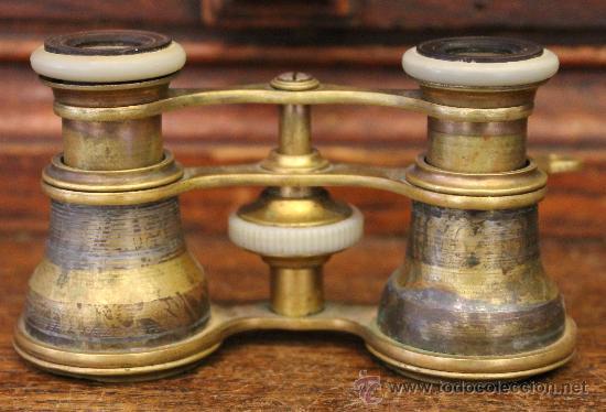 ANTIGUOS PRISMÁTICOS O BINOCULARES DE TEATRO EN BRONCE (Antigüedades - Técnicas - Instrumentos Ópticos - Binoculares Antiguos)