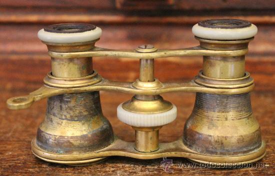 Antigüedades: ANTIGUOS PRISMÁTICOS O BINOCULARES DE TEATRO EN BRONCE - Foto 2 - 42817319