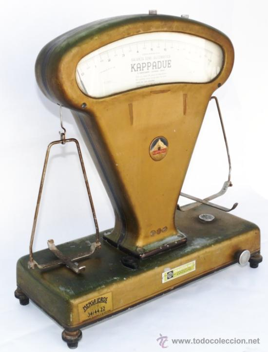 MUY RARA BALANZA SEMI AUTOMATICA 1964 KAPPADUE ITALIA (Antigüedades - Técnicas - Medidas de Peso - Balanzas Antiguas)