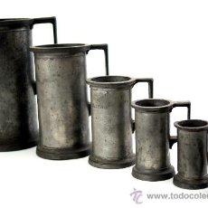Antigüedades: CONJUNTO DE MEDIDAS FRANCESAS DE ESTAÑO - TIENEN NUMEROSOS CUÑOS DE CONTROL - S. XIX. Lote 30645579