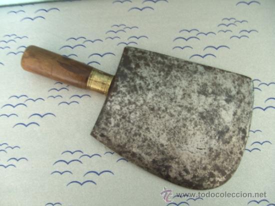 Antigüedades: ANTIGUA CUCHILLA DE CARNICERO CON MARCA - Foto 2 - 206476367