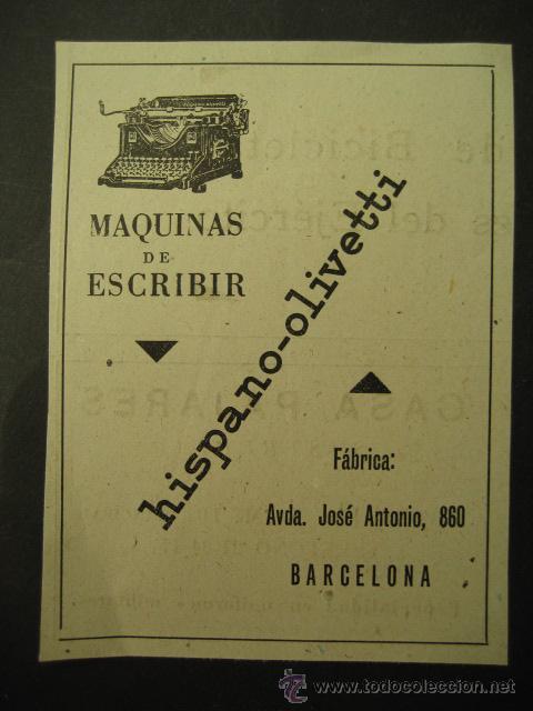 HISPANO - OLIVETTI. PUBLICIDAD DE REVISTA DE LOS AÑOS 50. MAQUINAS DE ESCRIBIR (Antigüedades - Técnicas - Máquinas de Escribir Antiguas - Olivetti)