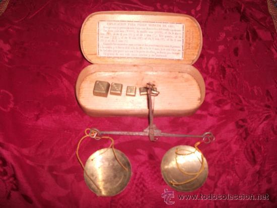 ESTUCHE PESA MONEDAS S.XIX (Antigüedades - Técnicas - Medidas de Peso - Balanzas Antiguas)