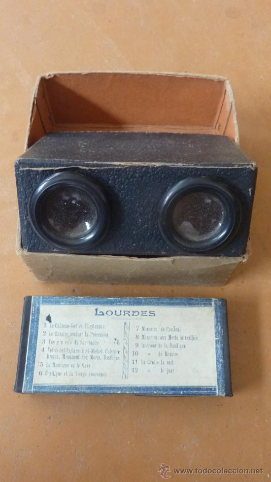 ESTEOROSCOPIO O VISOR ESTEOROSCOPICO CON SUS FOTOS DE LOURDES. (Antigüedades - Técnicas - Aparatos de Cine Antiguo - Visores Estereoscópicos Antiguos)