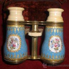 Antigüedades: ESPECTACULARES PRISMATICOS BINOCULARES DE ESMALTE Y MARFIL. Lote 31037124