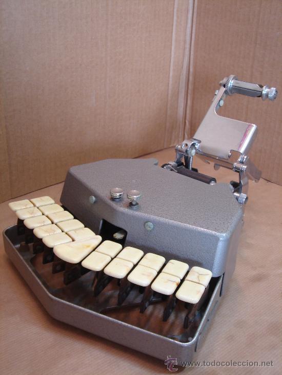 ANTIGUA MAQUINA ESCRIBIR TAQUIGRAFIA - STENOTYPE GRANDJEAN 1949 + ¡¡FUNCIONANDO Y MBE. ESTADO ¡¡ (Antigüedades - Técnicas - Máquinas de Escribir Antiguas - Otras)