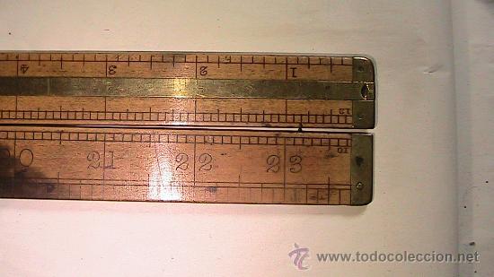 Antigüedades: Metro, regla, escala en pulgadas (inches), plegable, marca hockley abbey, refuerzo metálico. - Foto 2 - 31520933