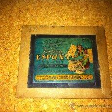 Antigüedades: CRISTAL CON PUBLICIDAD PARA LINTERNA MAGICA - JABON ESPUNY - PUENTE GENIL . Lote 31318565