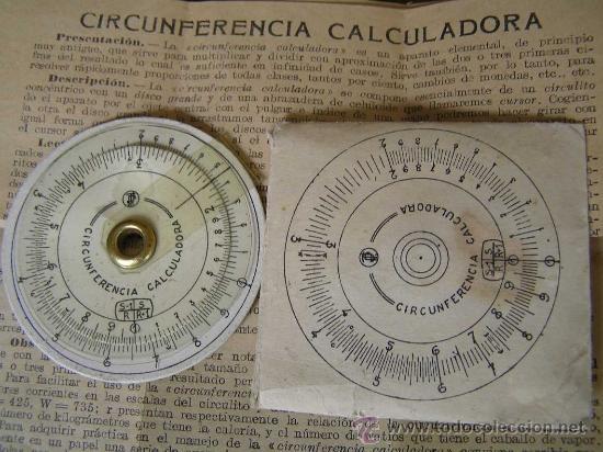 REGLA DE CALCULO CIRCULAR CIRCUNFERENCIA CALCULADORA SLIDE RULE RECHENSCHIEBER (Antigüedades - Técnicas - Aparatos de Cálculo - Reglas de Cálculo Antiguas)
