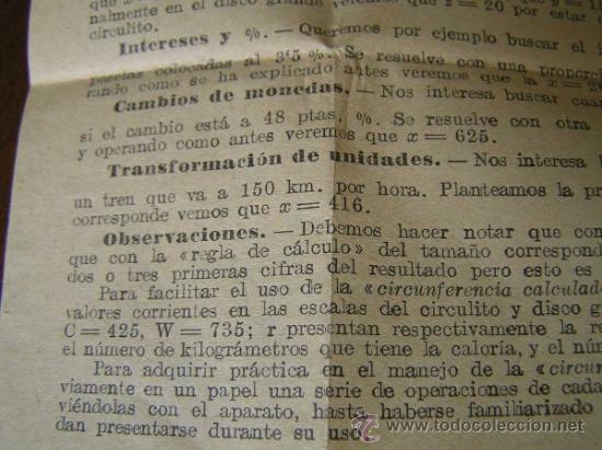 Antigüedades: REGLA DE CALCULO CIRCULAR CIRCUNFERENCIA CALCULADORA SLIDE RULE RECHENSCHIEBER - Foto 14 - 31405213
