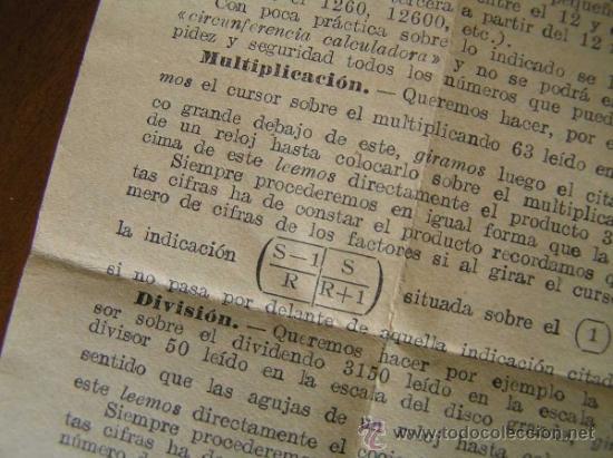 Antigüedades: REGLA DE CALCULO CIRCULAR CIRCUNFERENCIA CALCULADORA SLIDE RULE RECHENSCHIEBER - Foto 15 - 31405213