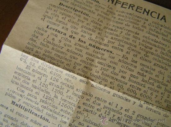 Antigüedades: REGLA DE CALCULO CIRCULAR CIRCUNFERENCIA CALCULADORA SLIDE RULE RECHENSCHIEBER - Foto 16 - 31405213