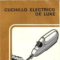 Antigüedades: MANUAL DE INSTRUCCIONES - CUCHILLO ELECTRICO DE LUXE MOULINEX. Lote 31662986