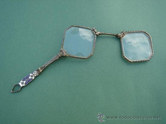 IMPERTINENTES ANTIGUOS -S. XIX- EN PLATA CON ESMALTES, CON SUS CRISTALES ORIGINALES. (Antigüedades - Técnicas - Instrumentos Ópticos - Gafas Antiguas)
