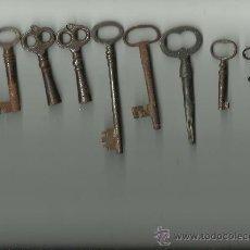 Antigüedades: 9 LLAVES ANTIGUAS DISTINTOS TAMAÑOS. Lote 32288436