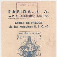 Antigüedades: PUBLICIDAD. PRECIOS DE MÁQUINAS DE COSER WERTHEIM. 1948. Lote 32600629