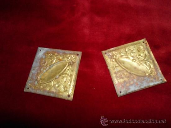 Antigüedades: Pareja de 2 apliques de bronce para muebles - Foto 2 - 32658565