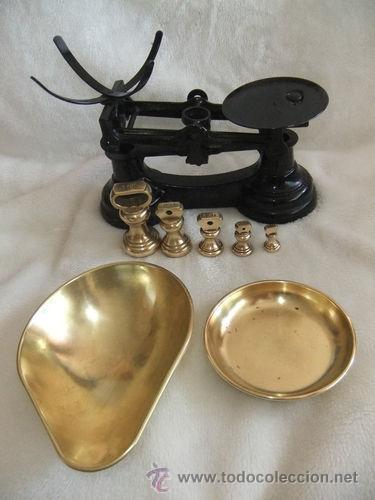 Antigüedades: ANTIGUA BALANZA Y JUEGO DE PESAS DE BRONCE - Foto 2 - 32743486