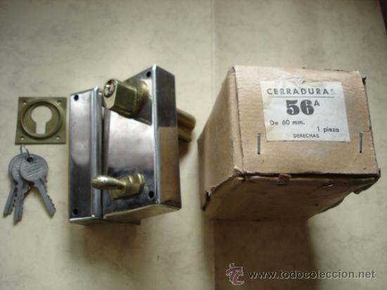 CERRADURA 56A DE 60 MM. DERECHAS (Antigüedades - Técnicas - Cerrajería y Forja - Cerraduras Antiguas)