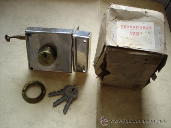 CERRADURA 125A DE 8 CM. IZQUIERDAS (Antigüedades - Técnicas - Cerrajería y Forja - Cerraduras Antiguas)