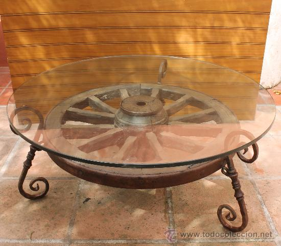 Magnifica y original mesa de jardin o interior comprar - Mesas con ruedas de carro ...